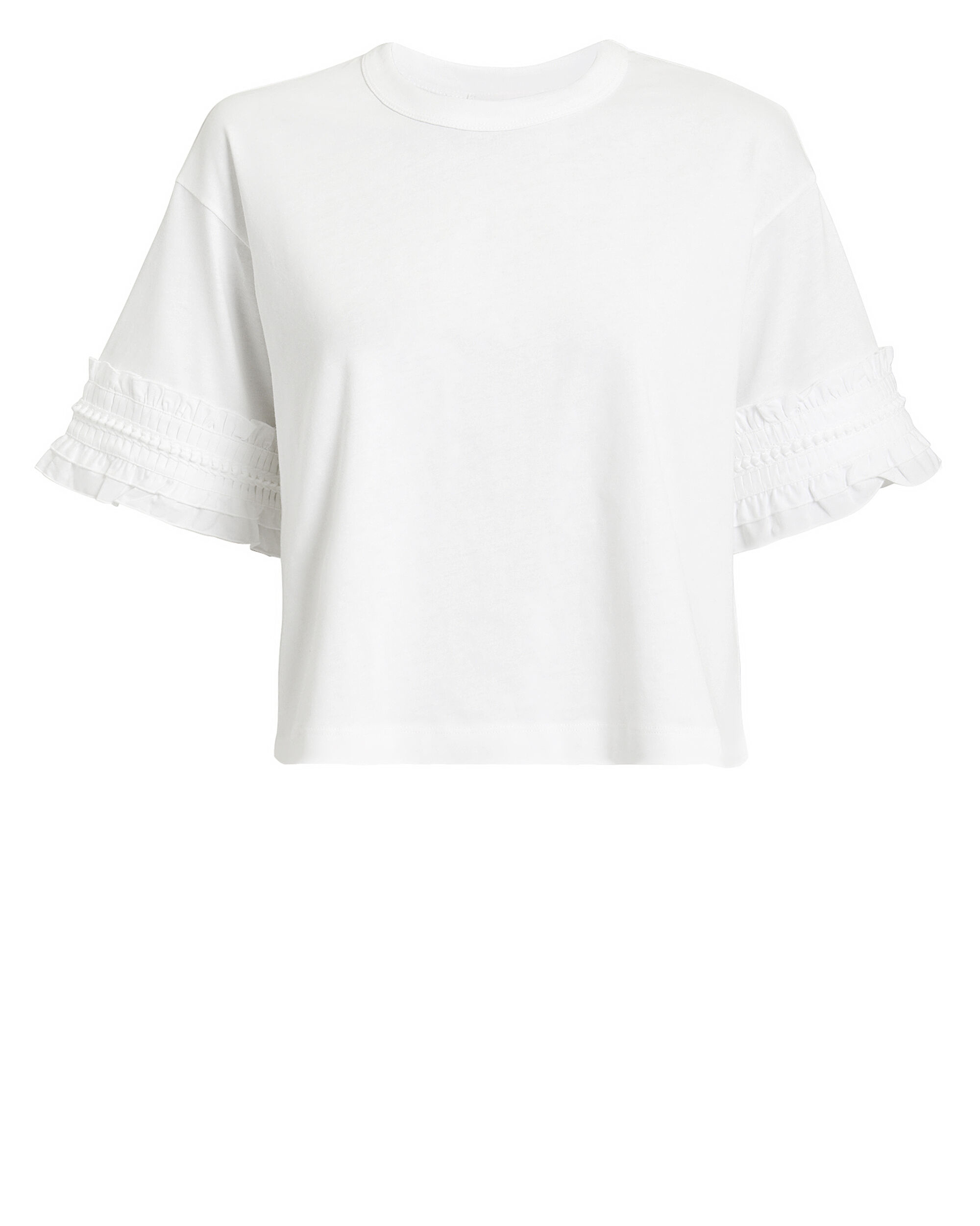 White Ruffle T-Shirt, WHITE, hi-res