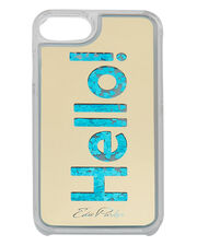 Blue Floating Hello iPhone 6 or 7 Case, GOLD, hi-res