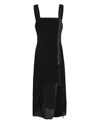 Josephine Hook Detail Midi Dress, BLACK, hi-res