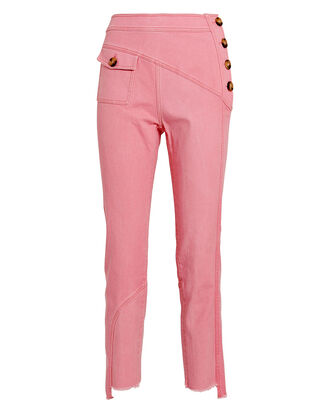 Lucie Paneled Straight-Leg Jeans, PINK, hi-res
