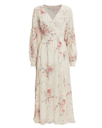 Leah Silk Floral Long Sleeve Dress, WHITE/FLORAL, hi-res