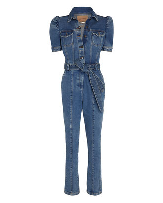 Tori Puff Sleeve Denim Jumpsuit, DENIM, hi-res