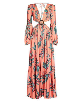 Printed Cut-Out Maxi Dress, CORAL, hi-res