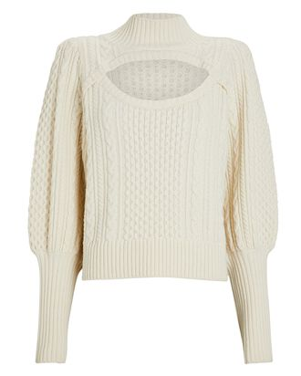 Juliette Cable Knit Cut-Out Sweater, IVORY, hi-res