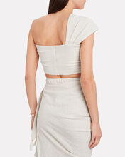 Sol One-Shoulder Knotted Top, OATMEAL, hi-res