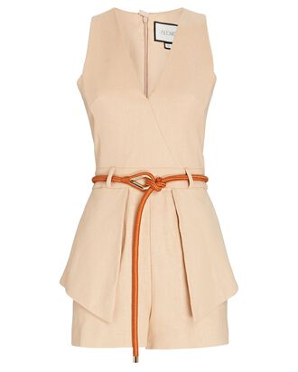 Darby Belted Sleeveless Romper, BEIGE, hi-res