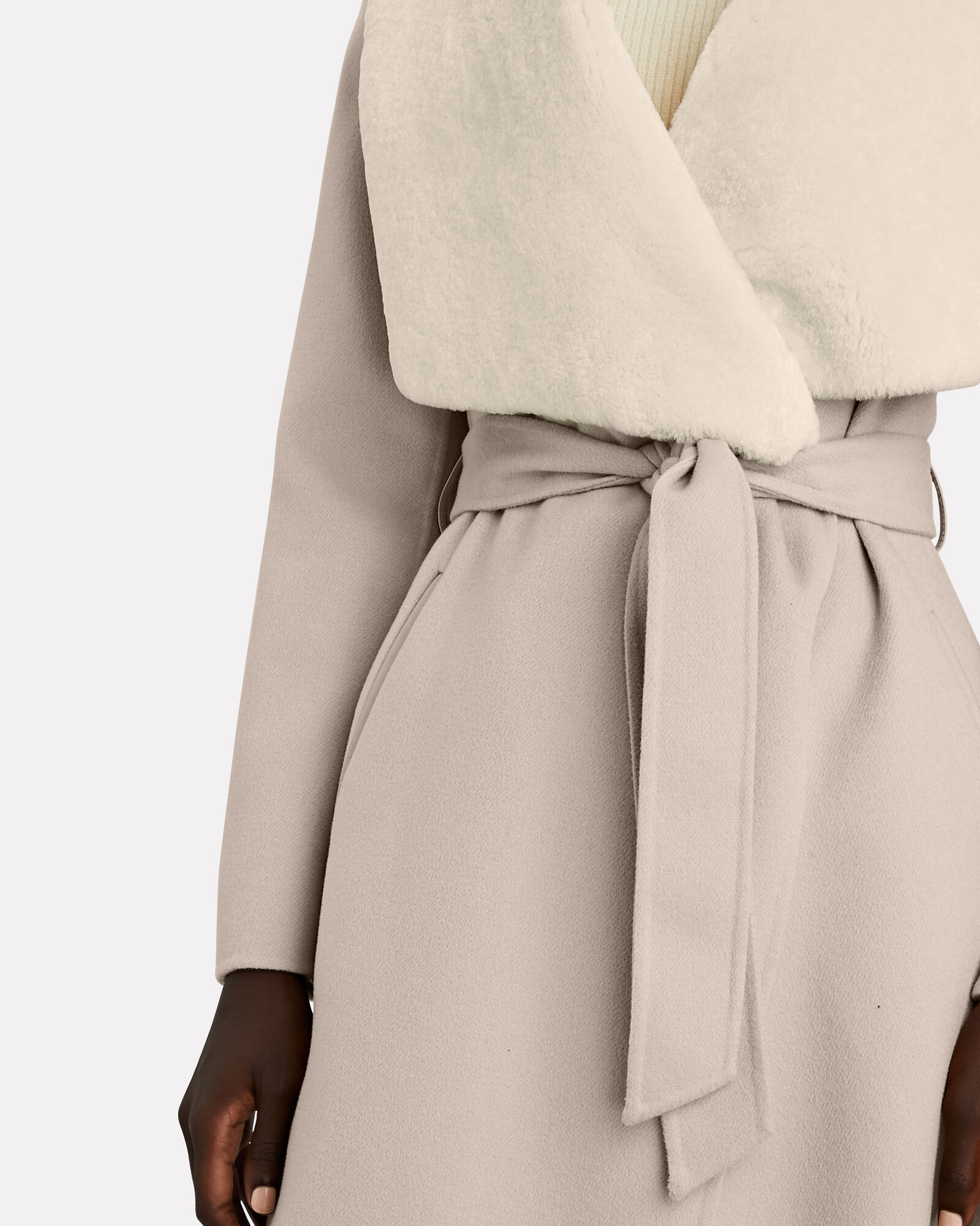 Sybil Shearling-Trimmed Wrap Coat, TAUPE, hi-res
