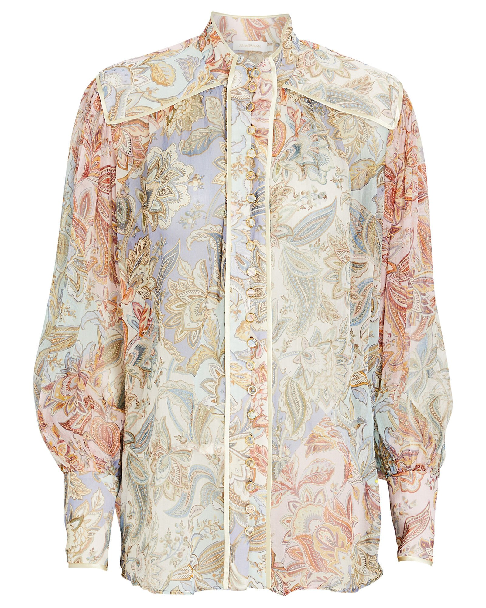 Lucky Bound Floral Paisley Blouse, LIGHT BLUE/BURGUNDY, hi-res