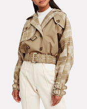 Sabotage Checked Cropped Jacket, BEIGE/CHECK, hi-res