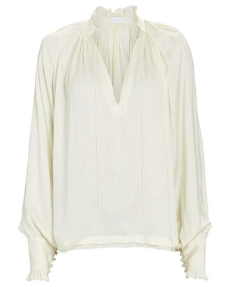 Ruffled Crepe Blouse, IVORY, hi-res
