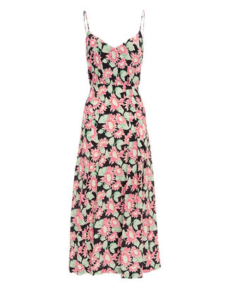 Pink Sunflower Print Midi Dress, MULTI, hi-res