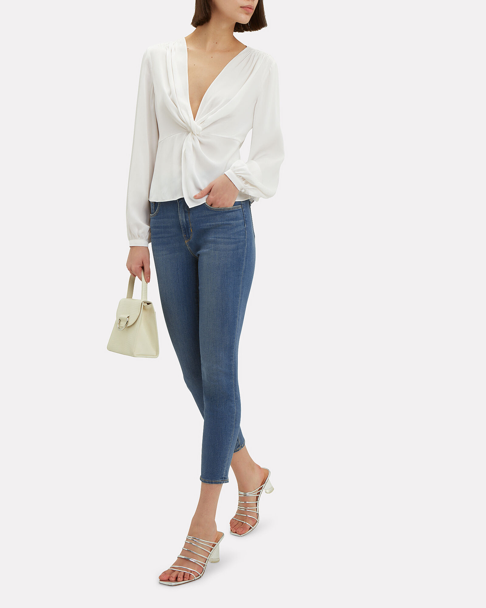 Dawn Silk Knot Top, WHITE, hi-res