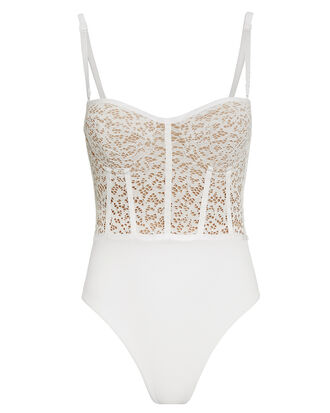 Lace Bustier One Piece Swimsuit, WHITE, hi-res