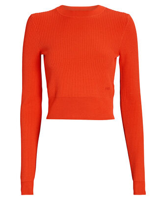 Cropped Crewneck Sweater, ORANGE, hi-res