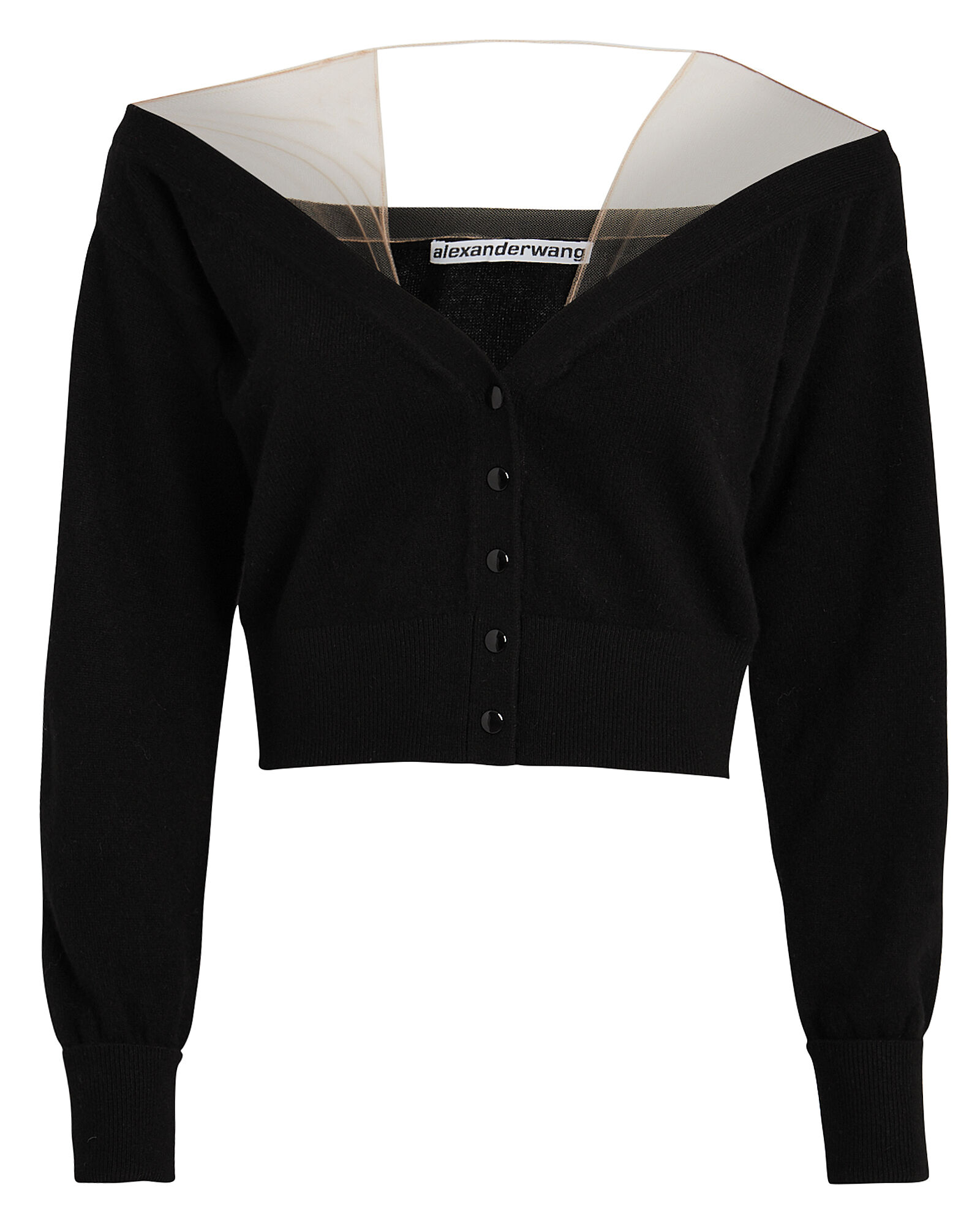 Sheer Yoke Cardigan, BLACK, hi-res