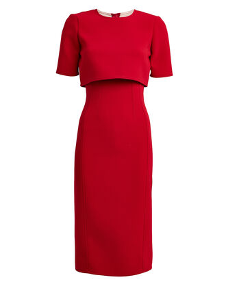 Crepe Overlay Sheath Dress, RED, hi-res