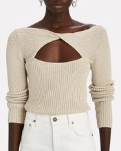 Mylie Cut-Out Rib Knit Sweater, BEIGE, hi-res