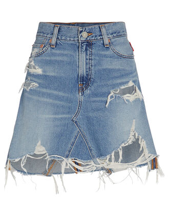 Page Distressed Denim Mini Skirt, DENIM, hi-res