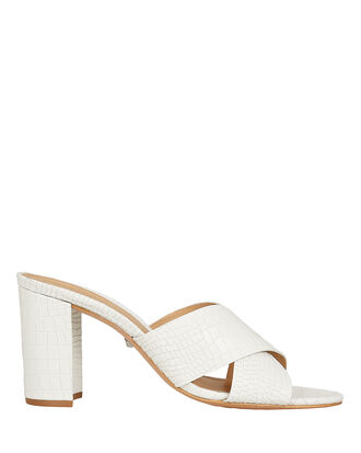 Renna Croc-Embossed Leather Slides, WHITE, hi-res