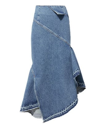 Folded Waist Denim Trumpet Skirt, BLUE, hi-res