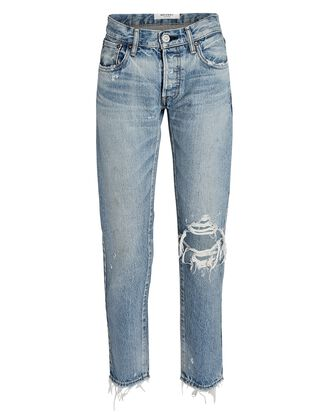 Raleigh Distressed Tapered Jeans, BLU, hi-res