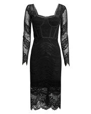 Mixed Lace Bustier Dress, BLACK, hi-res