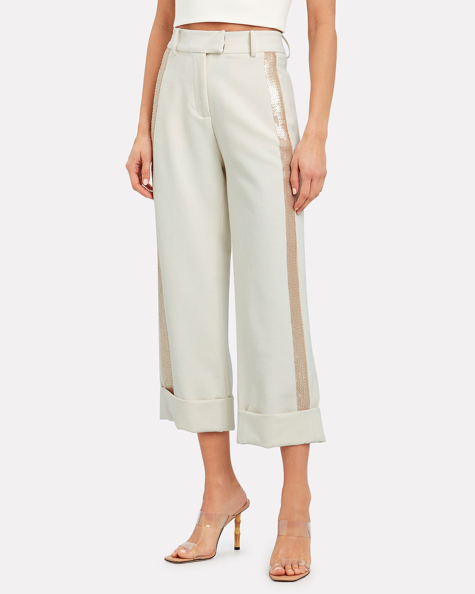 Gabina Cropped Sequin Trousers, IVORY, hi-res