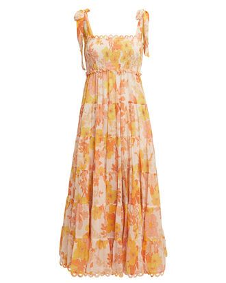 Primrose Crinkle Midi Dress, YELLOW/ORANGE/FLORAL, hi-res