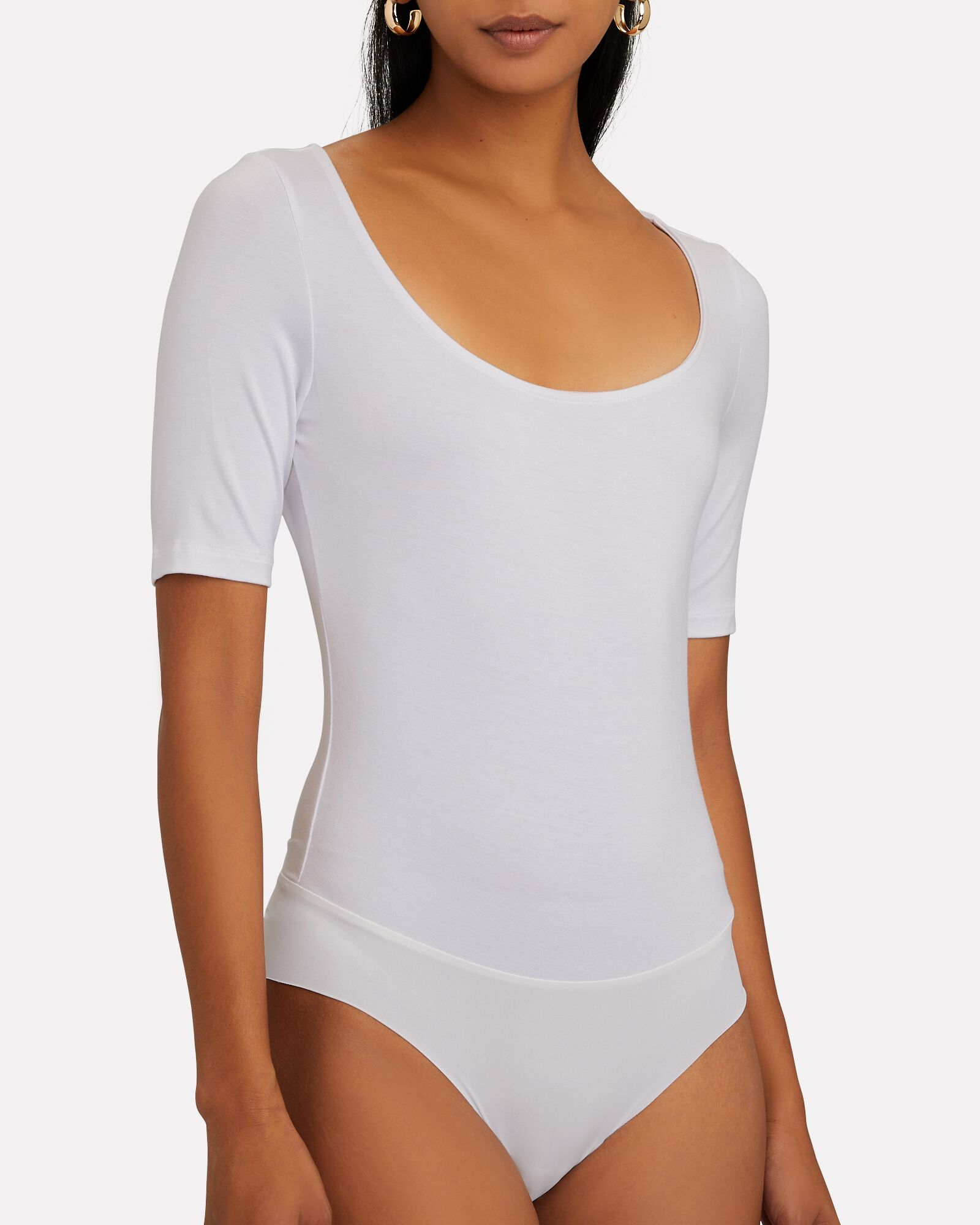 Katie Scoop Neck Bodysuit, WHITE, hi-res