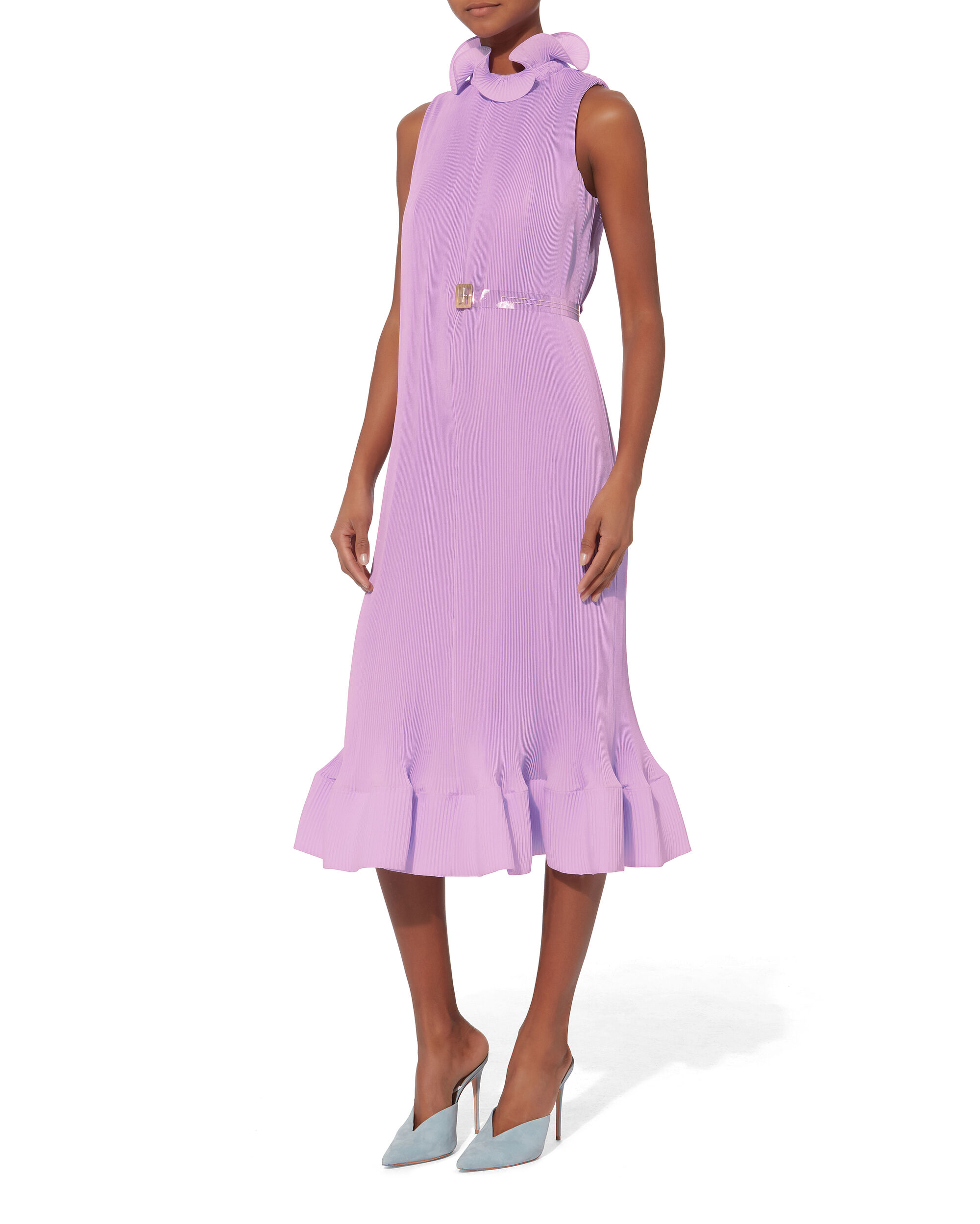 Pleated Belted Light Purple Dress, PURPLE-LT, hi-res