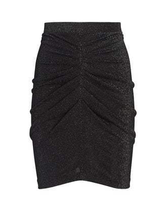 Sargas Ruched Lurex Mini Skirt, BLACK, hi-res