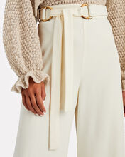 Belted High-Rise Crepe Pants, IVORY, hi-res