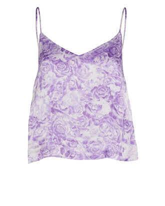 Heavy Satin Floral Camisole, PURPLE-LT, hi-res