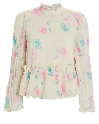 Pleated Georgette Floral Top, YELLOW/FLORAL, hi-res
