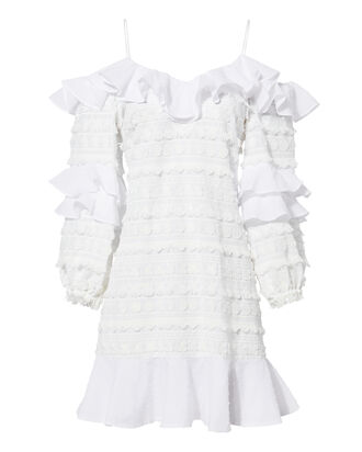 Calypso Ruffle Mini Dress, WHITE, hi-res