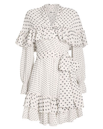 Martina Ruffle Tie Front Silk Dress, IVORY/DOT, hi-res