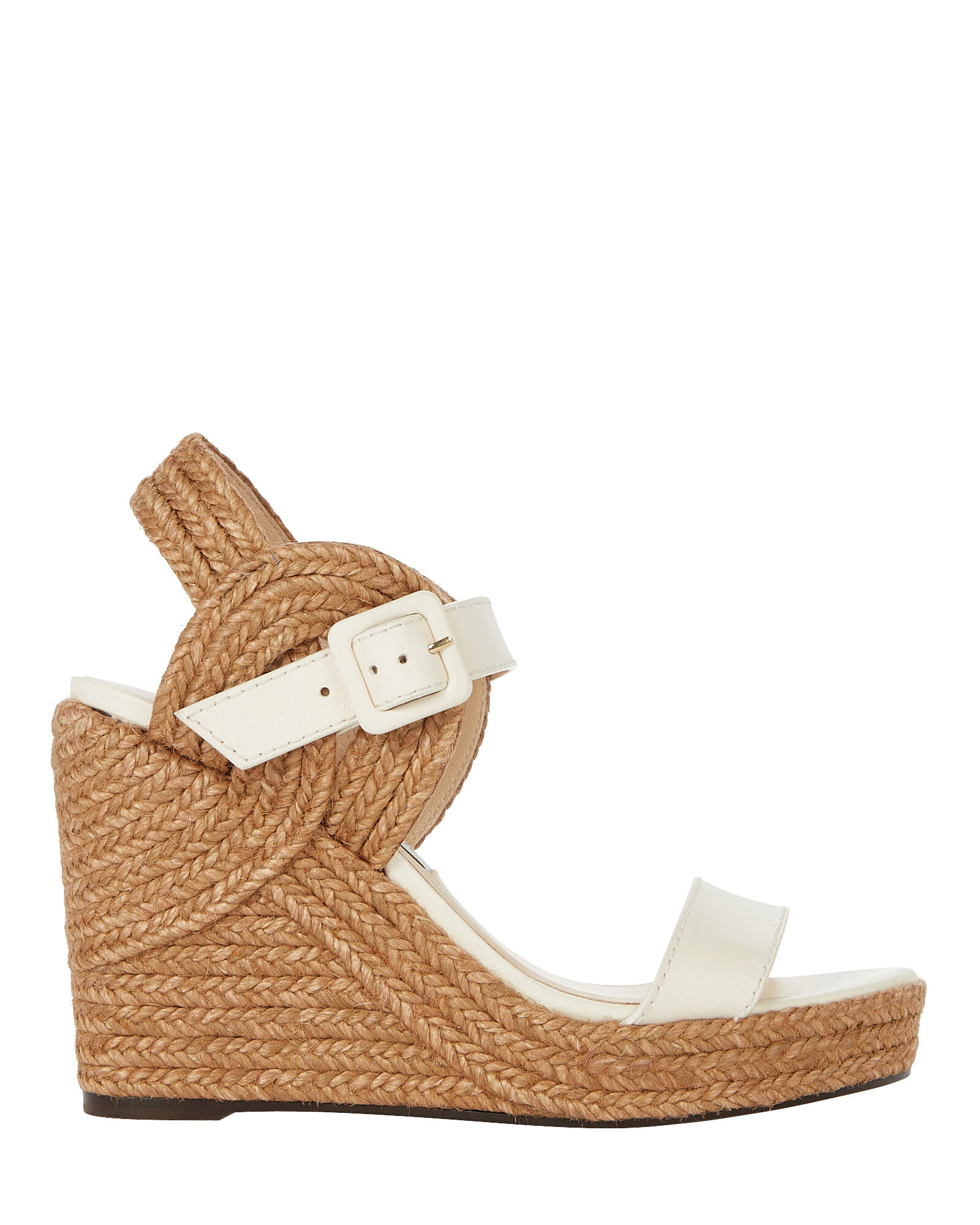 Delphi 100 Leather Espadrille Wedges, WHITE, hi-res