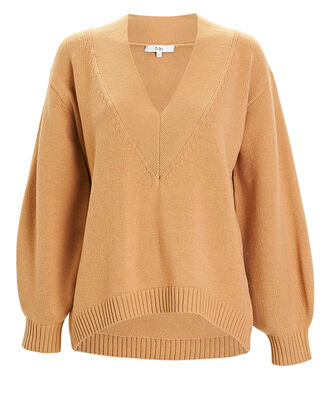 Airy Extrafine V-Neck Sweater, BEIGE, hi-res