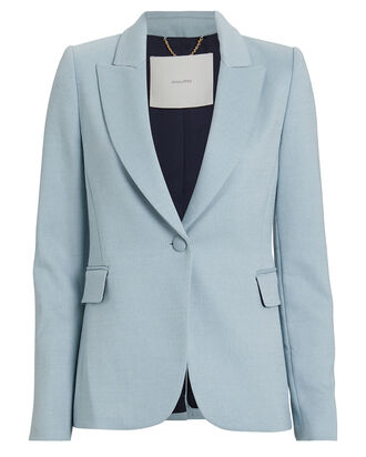 Wool-Blend Gabardine Blazer, POWDER BLUE, hi-res