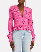 Tracy Printed Satin Blouse, MULTI, hi-res