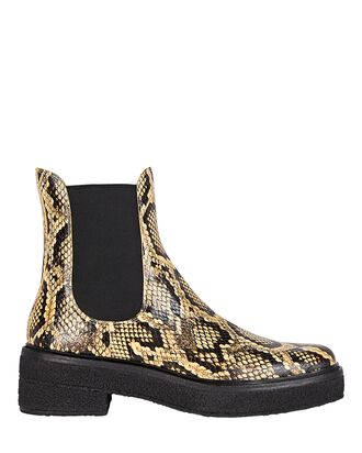 Raquel Embossed Leather Chelsea Boots, PALE YELLOW/BLACK, hi-res