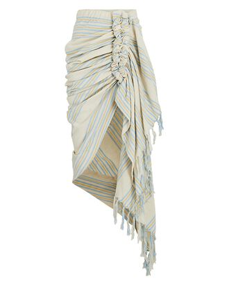 Tulum Ruched High-Low Skirt, BEIGE/BLUE, hi-res