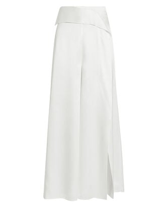 Front Slit Pants, WHITE, hi-res