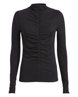Theresa Ruched Turtleneck Top, BLACK, hi-res