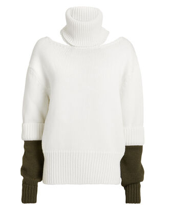 Double Cuff Slashed Sweater, IVORY, hi-res