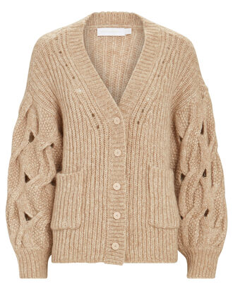 Reagan Lofty Alpaca-Wool Cardigan, BEIGE, hi-res