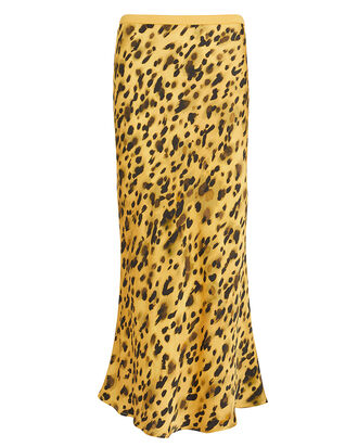 Bar Silk Leopard Skirt, YELLOW/LEOPARD, hi-res