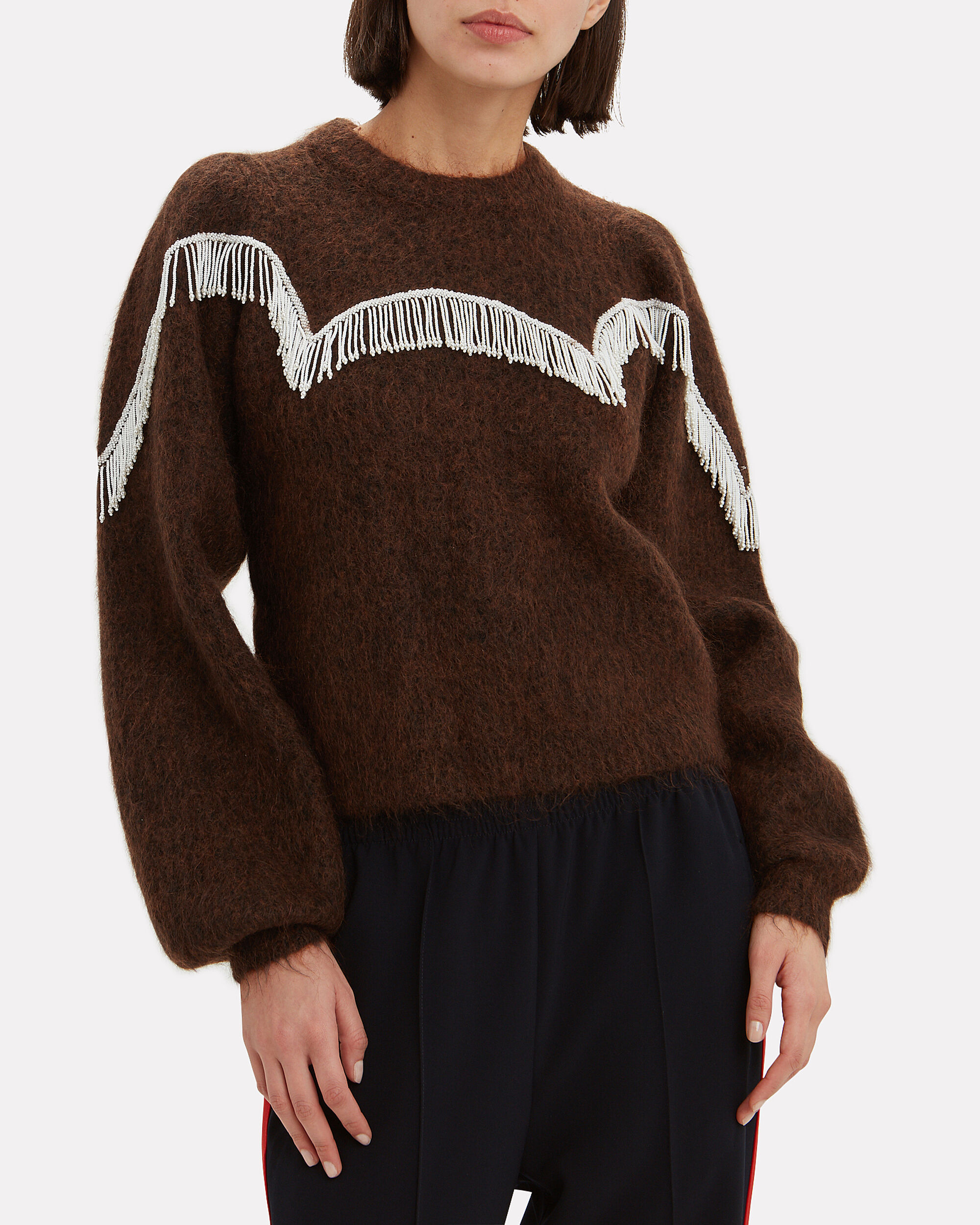 Fringe Wool Sweater, BROWN, hi-res