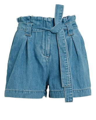 Hillary Paperbag Denim Shorts, MIST, hi-res