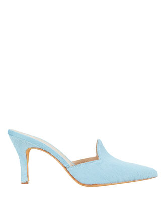 Pierre Haircalf Blue Mules, BLUE-MED, hi-res
